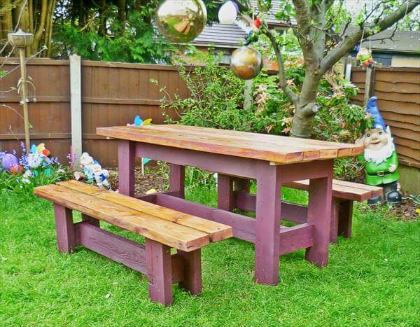 upcycled pallet garden bench and table