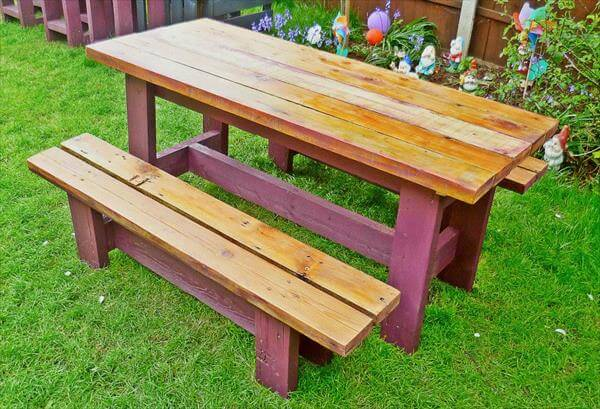 diy pallet garden bench and table