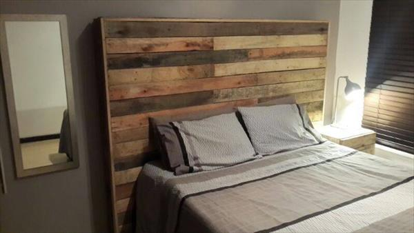 Diy wood pallet headboard for How to make a wood pallet headboard