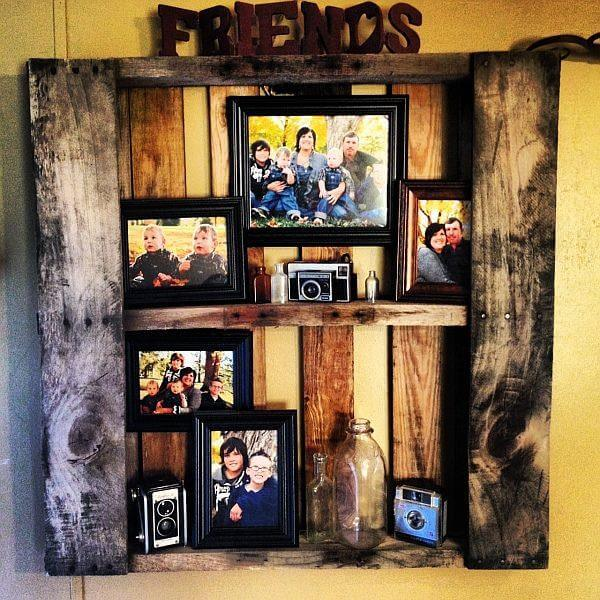 handcrafted rustic pallet picture shelf