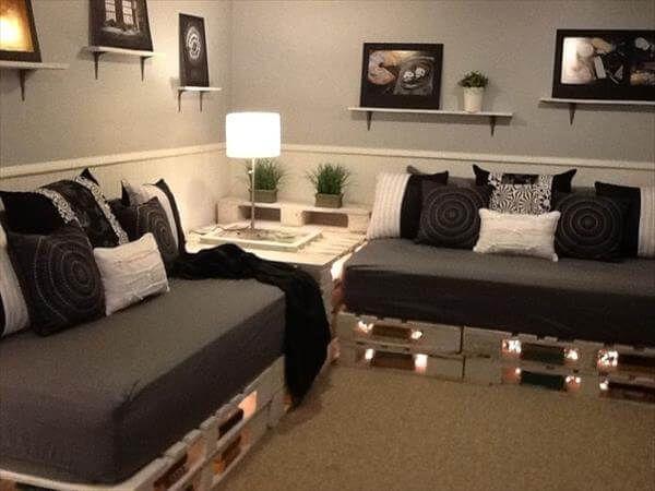 diy pallet sofa with lights