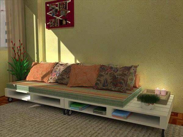 repurposed pallet sofa with storage