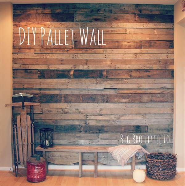 Diy easy pallet wood wall 99 pallets - Wooden pallet accent wall ...