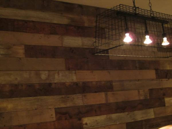 Diy pallet bedroom wall interior improvements 99 pallets for How to make a wood pallet wall