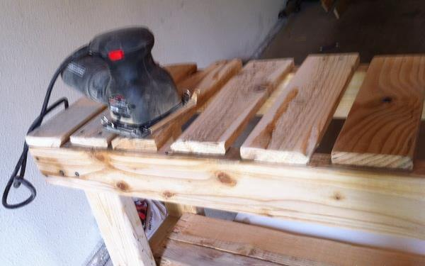 sanding of the bench