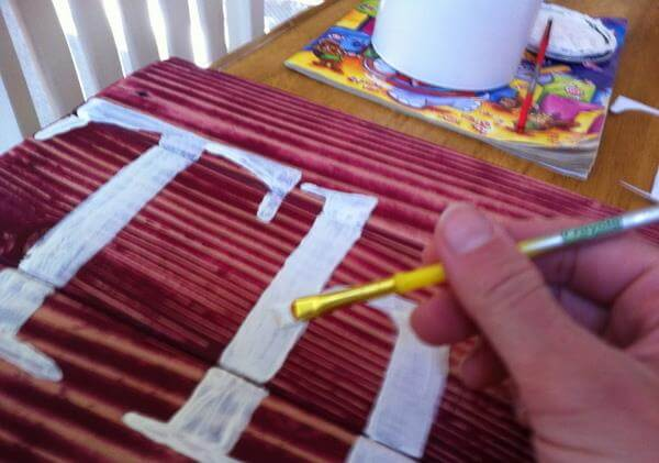 painting the traced out name letters