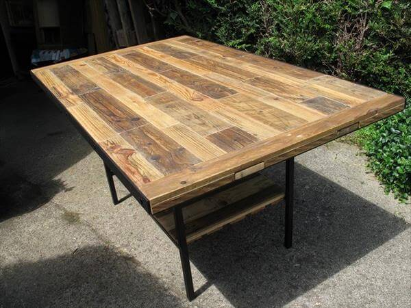 diy industrial pallet dining table 99 pallets. Black Bedroom Furniture Sets. Home Design Ideas