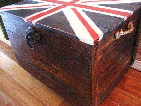 repurposed pallet crate chest
