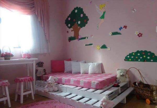 repurposed pallet girls bed