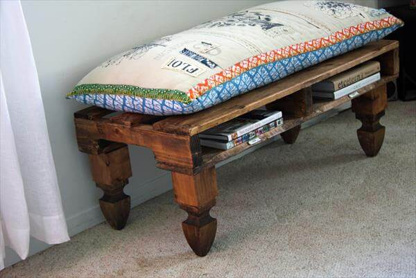 DIY Pallet Bench With Cushion And Storage 99 Pallets