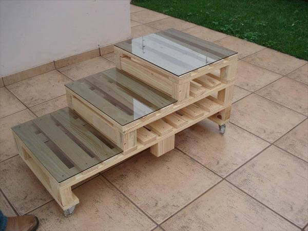 coffee table with glass top out of pallet wood.