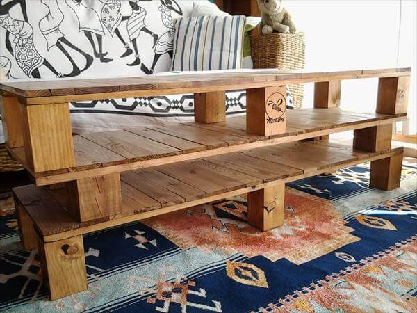 diy rustic pallet coffee table and TV stand