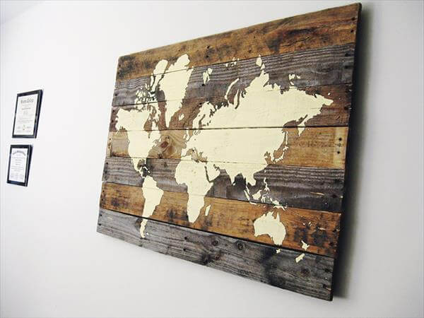 diy pallet wall map