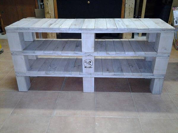 handcrafted pallet media console and TV stand