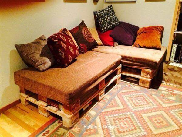 salvaged pallet sectional sofa