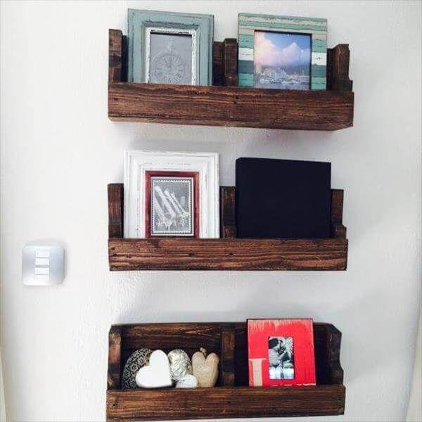 reclaimed pallet wood shelves