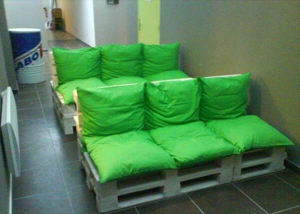 pallet-sofa-with-green-cushion Pallet Home Theatre Furniture on pallet tv, pallet ideas, pallet wine rack directions, pallet bar, pallet room, pallet headboard, pallet accessories, pallet couch, pallet pool, pallet cooler, pallet theater chair, pallet entertainment, pallet toys,