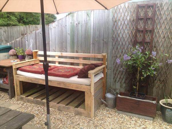 rustic pallet outdoor sofa with storage