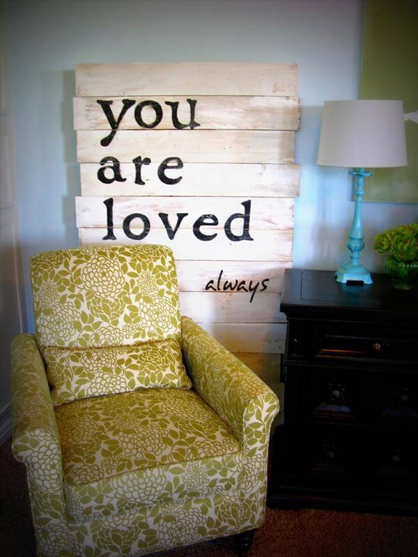 diy pallet love wall sign