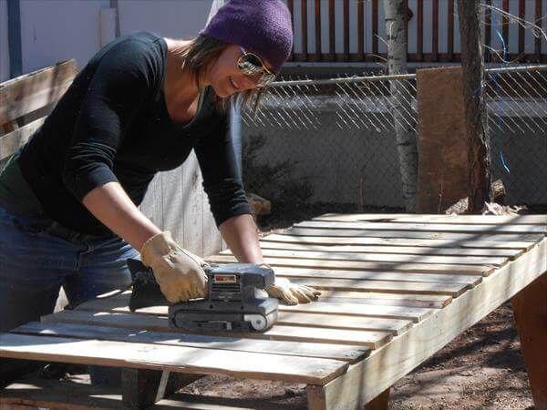 sanding of pallet boards