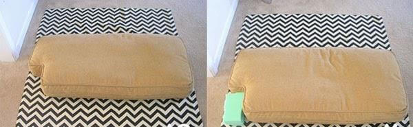 covering the cushion into patterned cloth