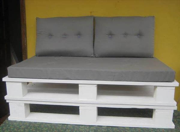 white pallet sofa with cushion