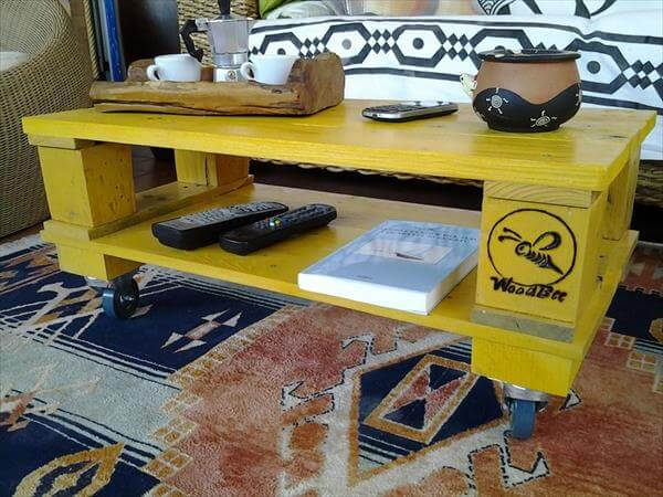 recycled pallet yellow coffee table | 99 pallets