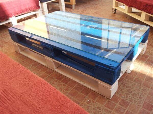 Diy Colorful Pallet Coffee Table With Glass Top Pallets