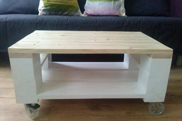 diy pallet coffee table on wheels | 99 pallets