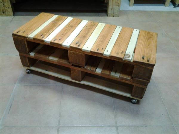 wooden pallet coffee table with wheels | 99 pallets