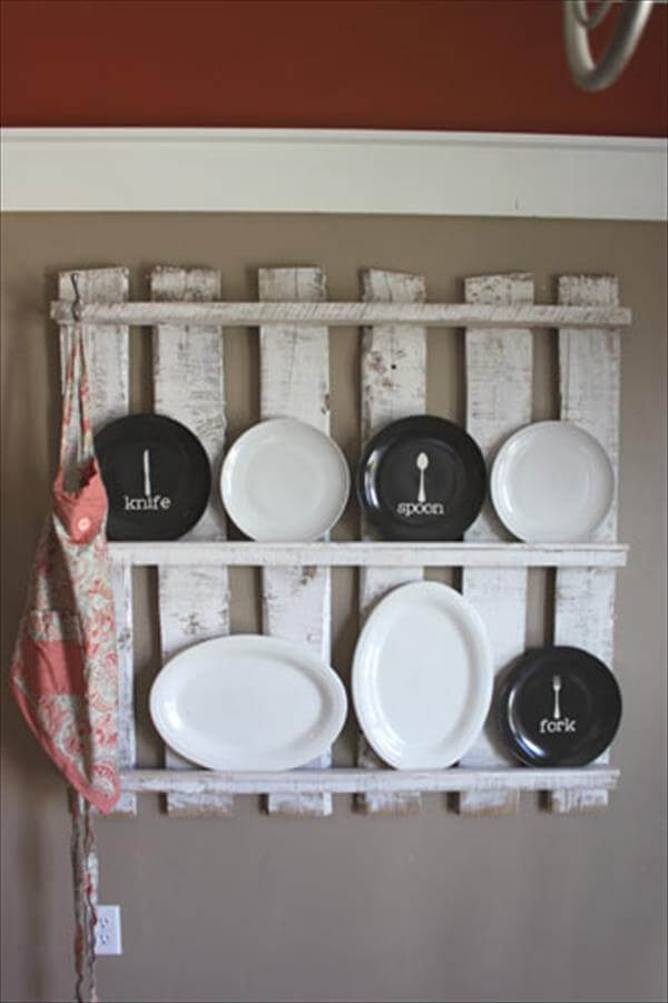 upcycled pallet kitchen utensil rack