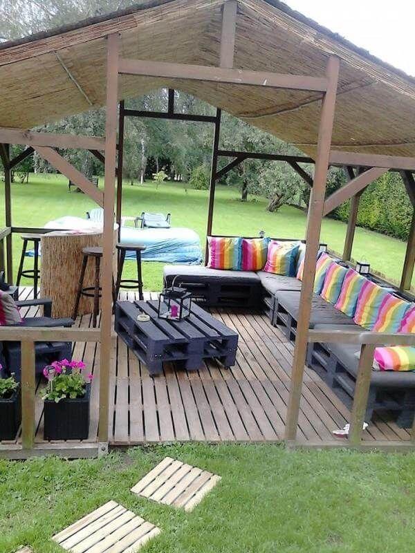 Diy cozy pallet patio furniture instructions 99 pallets for Diy pallet patio furniture
