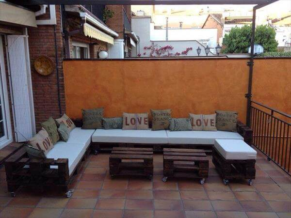 recycled pallet L shaped sectional sofa