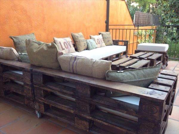 Pallet Sectional Plans diy pallet l shaped sectional sofa | 99 pallets