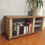 Recycled Wood TV Stand with Book Storage