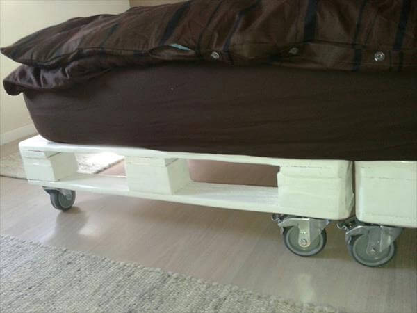 handcrafted pallet bed with casters