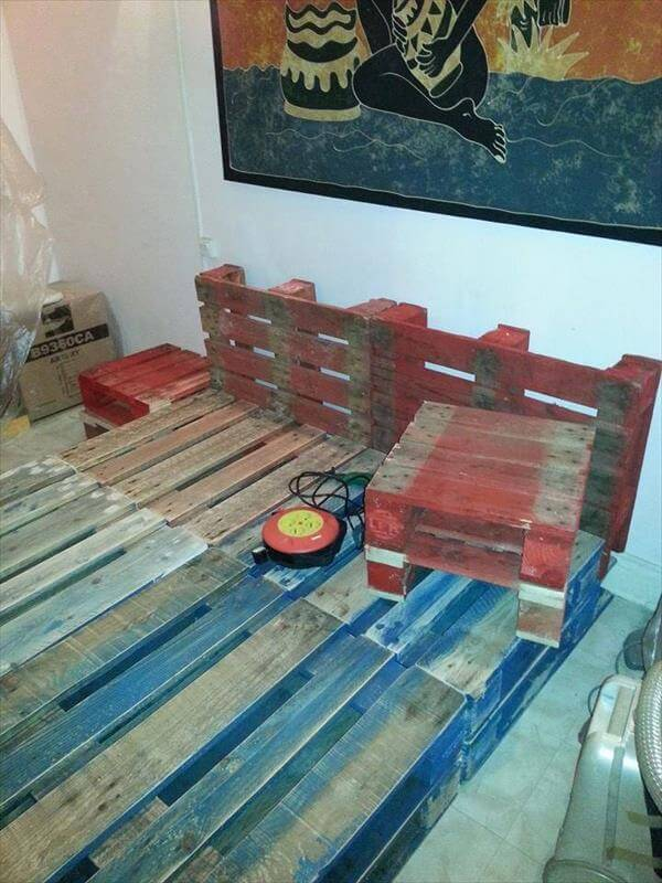 rustic pallet bed frame with lights