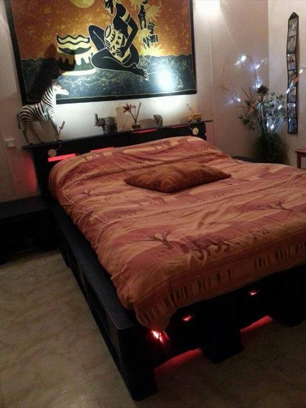 diy wooden pallet bed with lights 99 pallets