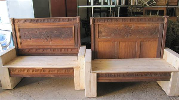 Old Bed Headboard And Pallet Wood Bench 99 Pallets