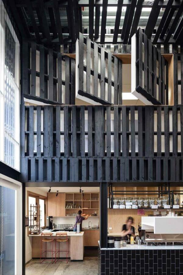 Cafe Interior with Pallet Wood   99 Pallets