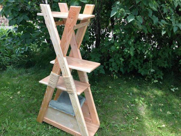 reclaimed pallet cat tower