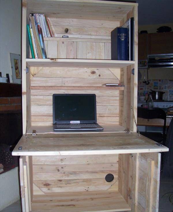 DIY Pallet Fold Out Computer Desk 99 Pallets
