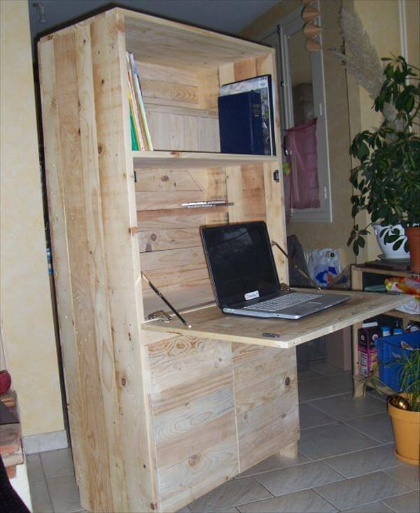 reclaimed pallet fold out computer desk