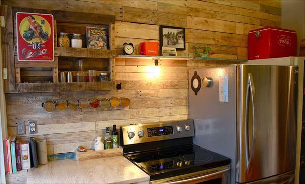 recycled pallet kitchen wall