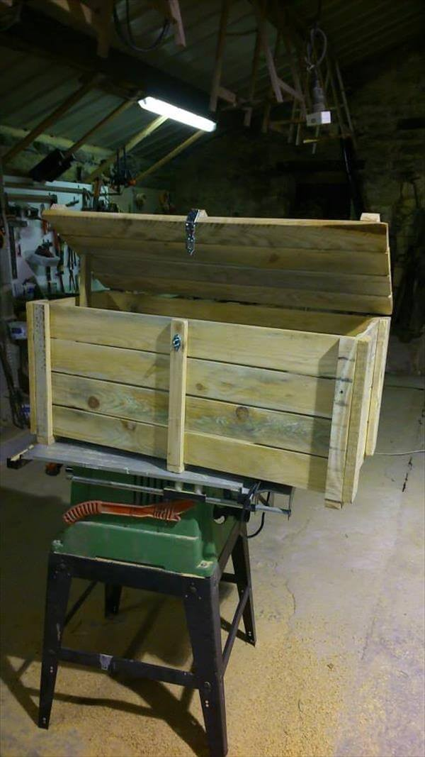 handcrafted pallet storage chest