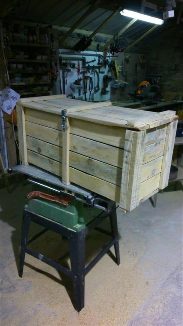 rustic pallet storage chest