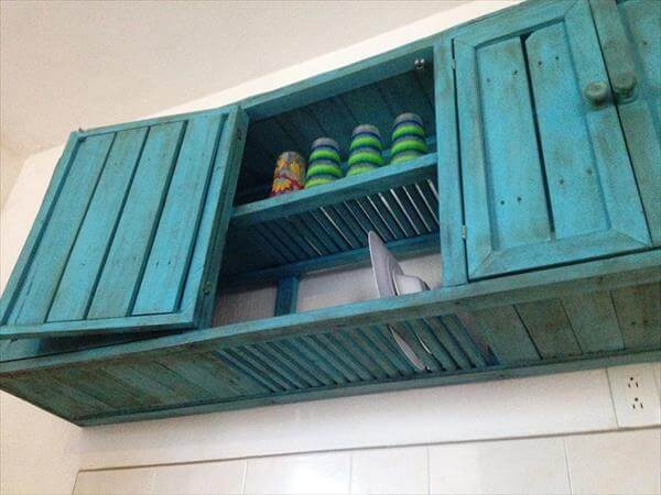 Reclaimed Pallet Wall Hanging Kitchen Cabinet