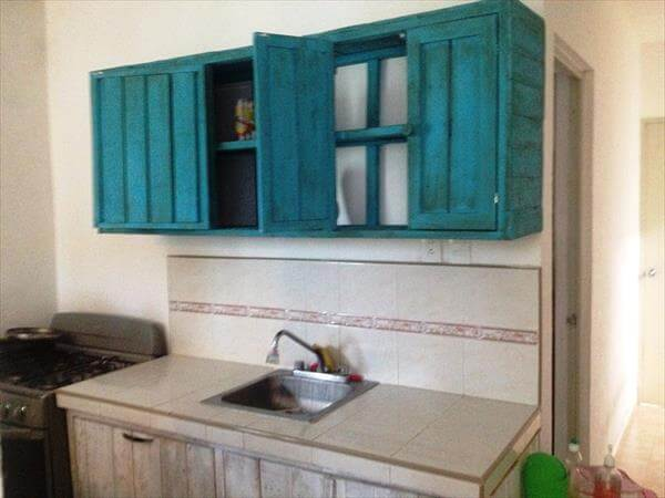 upcycled pallet wall hanging kitchen cabinet