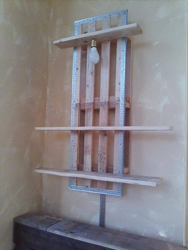 recycled wall shelf with lamp