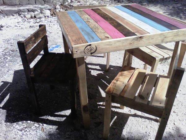 recycled pallet wood dining furniture